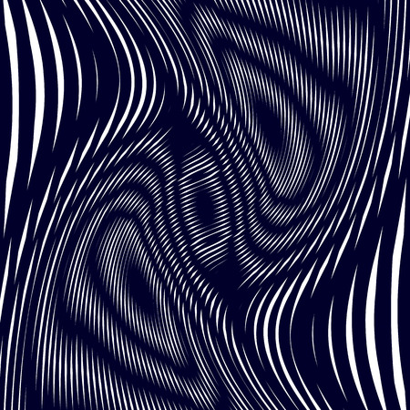 Optical illusion, moire background, abstract lined monochrome tiling. Unusual geometric pattern with visual effects.