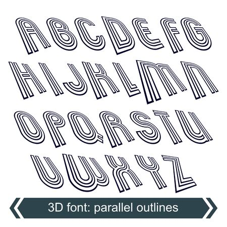 typeset: 3d retro typeset with lines in rotation, vector uppercase calligraphic letters.