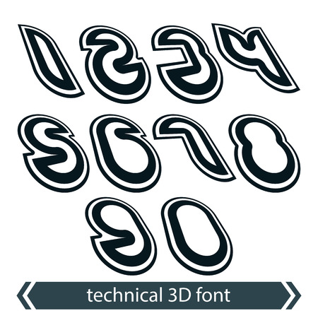 web 2 0: Retro style rounded numeration, technical 3D numbers, contemporary shift geometric symbols. Illustration