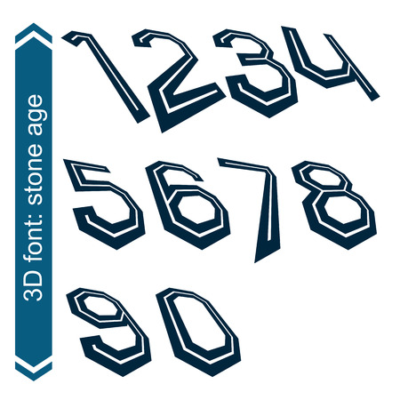 numeration: 3d retro slim numbers in rotation, stylish vector numeration design. Tall black and white numbers.