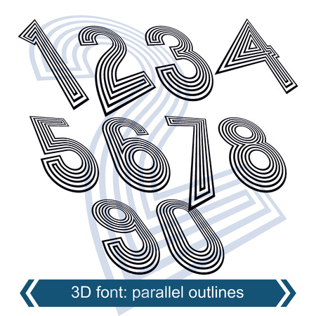 web 2 0: Dimensional move numbers, vector line retro style geometric font, 2