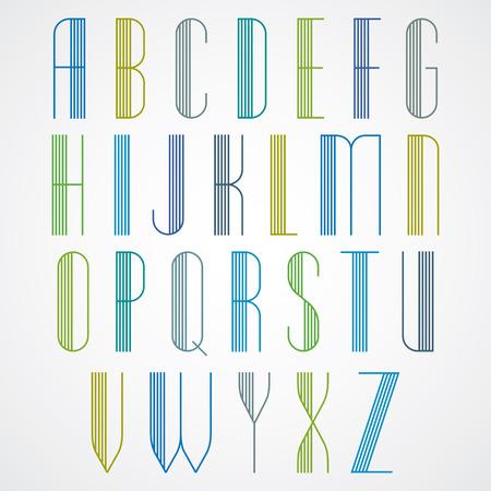 Fuente elegante Tall rayas estilo retro artístico, hermoso geométrica patrón estrecho cartas forradas tipo de letra. Las letras mayúsculas establecen. Vector.