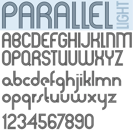 """PARALLEL"" stripes retro style font, light version, vector alphabet, trendy and stylish letters design. Best for use in retro style posters and graphic designs. Vector. Illustration"