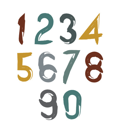 estimating: Handwritten vector numbers isolated on white background, painted modern numbers set.