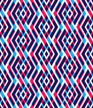 Bright abstract seamless pattern with interweave lines. Vector psychedelic wallpaper with stripes. Endless decorative background, unusual tracery. Vector