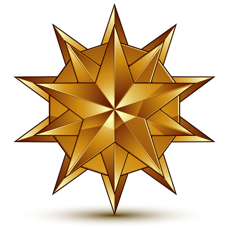 aurum: Vector glorious glossy design element, luxury 3d golden star, conceptual graphic template, clear EPS 8. Illustration
