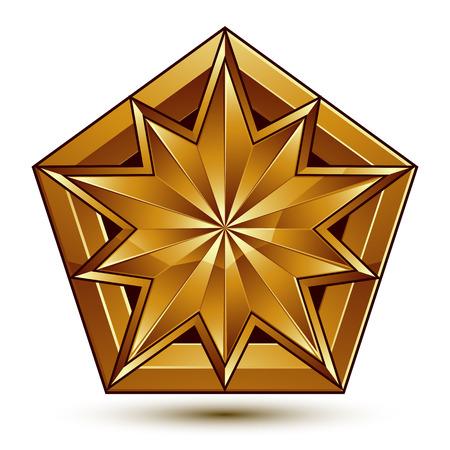 aristocrático: Vector cl�sico emblema aislado sobre fondo blanco. Aristocr�tica estrella de oro Vectores