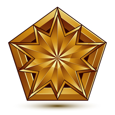 golden star: Vector classic emblem isolated on white background. Aristocratic golden star