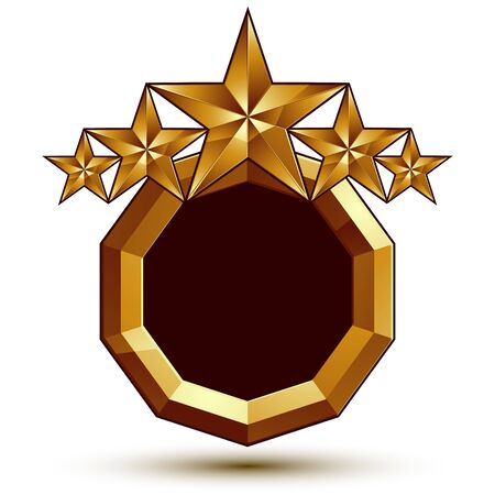 estrellas cinco puntas: Plantilla vector her�ldico con cinco puntas estrellas doradas, dimensiones medall�n geom�trico real aislado en el fondo blanco.