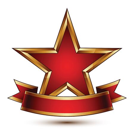 Glamorous vector template with pentagonal red stars with golden outline, best for use in web and graphic design. Conceptual heraldic icon with red curved ribbon