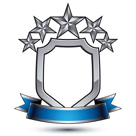 relic: Five vector pentagonal silver stars with wavy ribbon placed on a protection shield, 3d sophisticated design element, clear emblem.