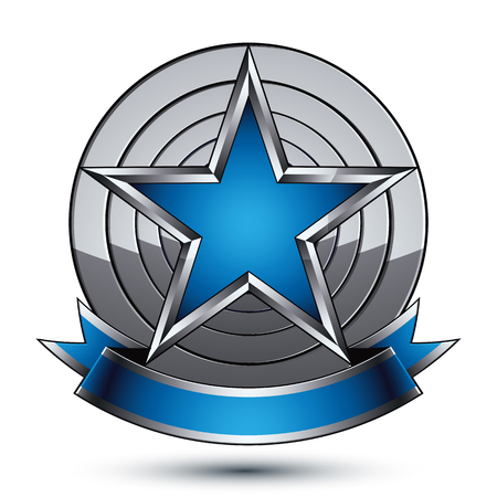 Renown vector silver star with wavy ribbon placed on a round surface, 3d sophisticated pentagonal design element,