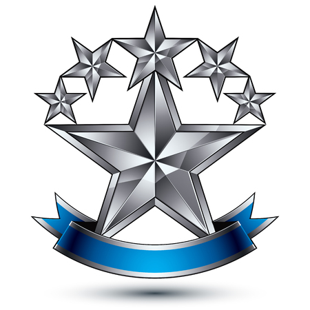 renown: Renown vector silver star emblem with wavy ribbon, 3d sophisticated pentagonal design element,
