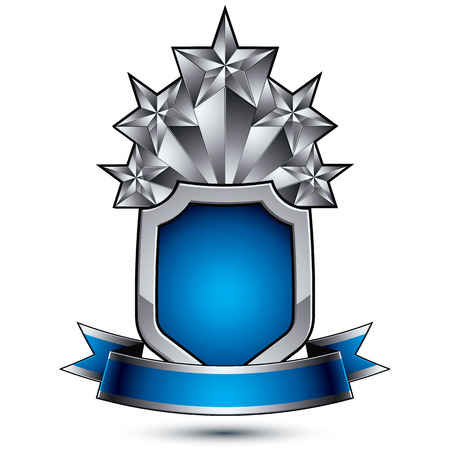 pentagonal: Heraldic vector template with five pentagonal silver stars placed over security shield and decorated with blue wavy stripe, silver 3d royal geometric blazon isolated on white background.