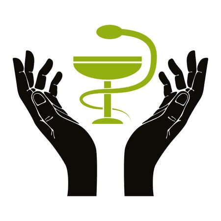 incurved: health in hands. Vector illustration. Illustration