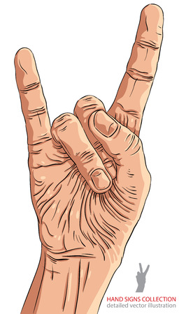 heavy metal: Rock on hand sign, rock n roll, hard rock, heavy metal, music, detailed vector illustration. Illustration