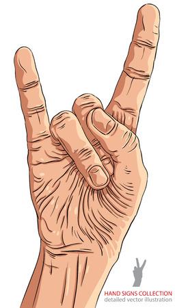 heavy metal music: Rock on mano segno, rock n roll, hard rock, heavy metal, musica, illustrazione dettagliata di vettore.