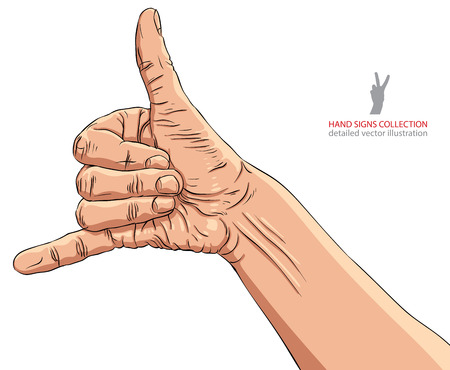call me: Call me hand sign, detailed vector illustration. Illustration
