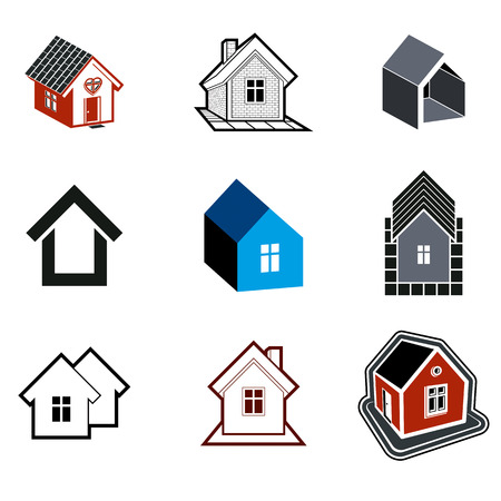 Simple cottages collection, real estate and construction theme. Houses  illustration with a heart symbol – Honeymoon suites, hotel rooms for newlyweds.