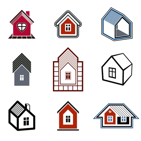 apartment suite: Houses abstract icons, can be used in advertising and as branding in real estate business and construction. Set of simple buildings – architecture theme graphic symbol. Room for the newlyweds.