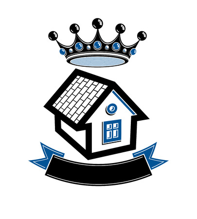 royal house: Imperial coat of arms, royal house conceptual symbol. Protection shield with 3d king crown. Majestic heraldic design element.