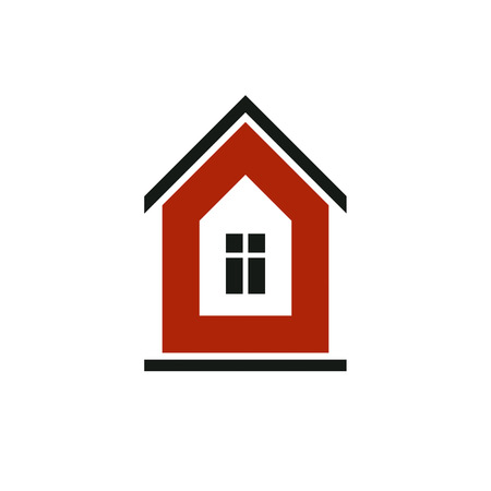 depiction: Real estate simple business icon isolated on white background, abstract house depiction. Property developer symbol, conceptual sign best for use in advertising and branding.