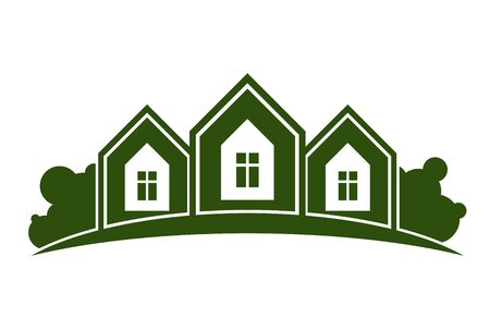 homely: Abstract illustration of country houses with horizon line. Village theme picture – green house. Simple buildings on nature background, graphic emblem for advertising and real estate. Illustration