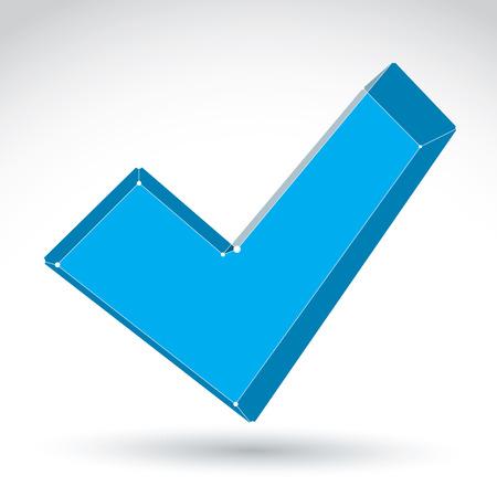 verify: 3d maglia segno convalida colorato isolato su sfondo bianco, elegante icona segno di spunta, luminoso tecnologia dimensionale verificare simbolo Vettoriali