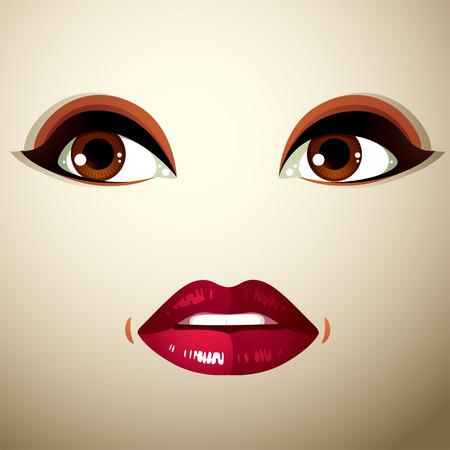 expression visage: Parties du visage d'une belle jeune femme avec un brillant maquillage, les l�vres et les yeux. Les gens de l'expression du visage, surpris et choqu� femme.