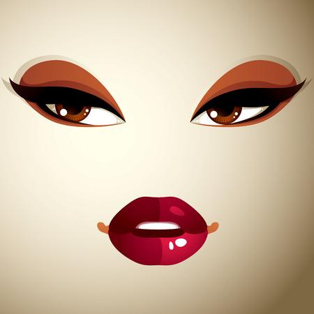 coquete: Coquette mulher olhos e l�bios, maquiagem elegante. Pessoas emo��es faciais negativas.