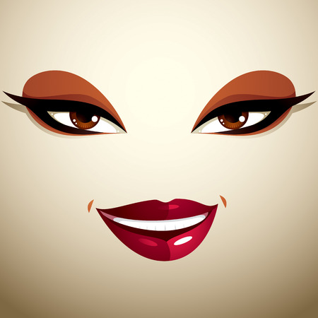 glad: Coquette glad smiling woman eyes and lips, stylish makeup. People positive facial emotions, happiness.
