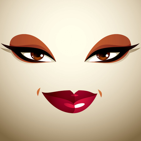 Attractive woman with stylish bright make-up. Sexy Caucasian tricky lady. Human eyes and lips reflecting emotions.