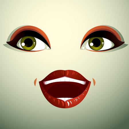 countenance: Beautiful happy woman with stylish makeup. Illustration