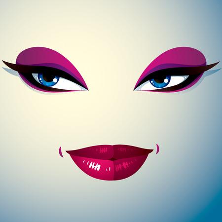 expression visage: L'image de la cosm�tologie th�me. Jeune jolie dame. Yeux et des l�vres humaines refl�tant une expression du visage, la passion.