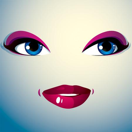 expression visage: Parties du visage d'une belle jeune femme avec un brillant maquillage, les l�vres et les yeux. Les gens de l'expression du visage, heureux femme souriante.