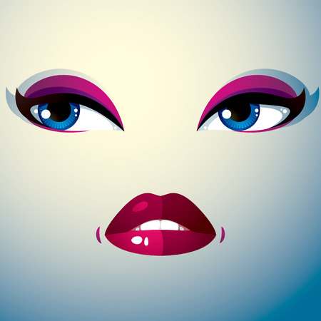 physiognomy: Cosmetology theme image. Young pretty lady. Human eyes and lips reflecting a facial expression, sadness. Illustration