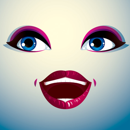 countenance: Beautiful happy woman with stylish makeup. Illustration