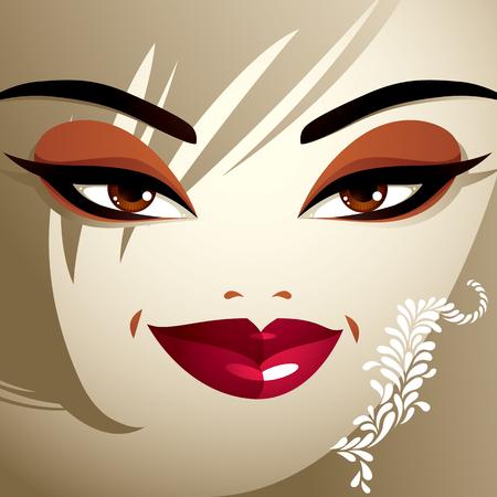 coquete: Emo��es faciais de uma mulher muito jovem, com um corte de cabelo moderno. Coquette senhora visage, expressivos humanos olhos, l�bios e fechaduras.