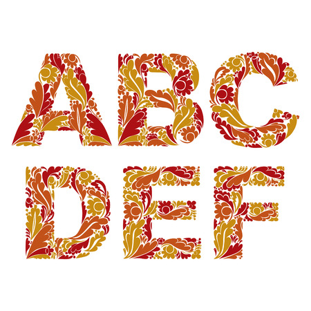drop cap: Vector letters decorated with seasonal autumn leaves, A, B, C, D, E, F. Vintage ornamental typescript. Illustration