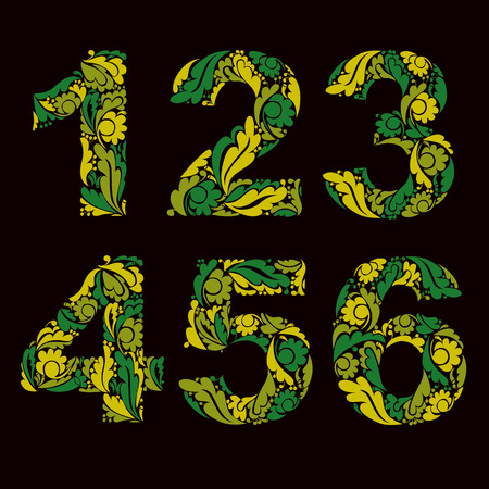 3 4: Vector numeration decorated with seasonal spring leaves, 1, 2, 3, 4, 5, 6. Vintage ornamental numbers.