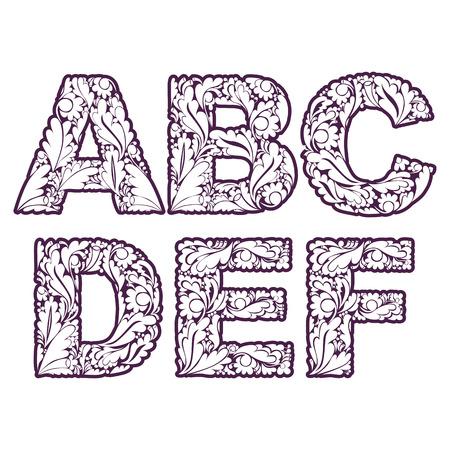 drop cap: Retro drop caps with herbal ornament. Beautiful font with floral pattern, A, B, C, D, E, F. Illustration