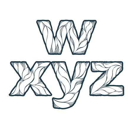 typescript: Vintage ornamental beautiful font, floral typescript. W, x, y, z,, letters isolated.