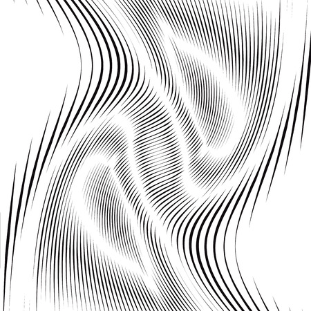 Moire pattern, op art background. Hypnotic backdrop with geometric black lines. Abstract tiling. Illustration