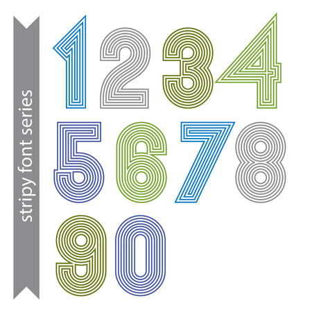 Stripy geometric numbers made with parallel straight lines. Light graphic vector stylish numeration, bright digit sequence.