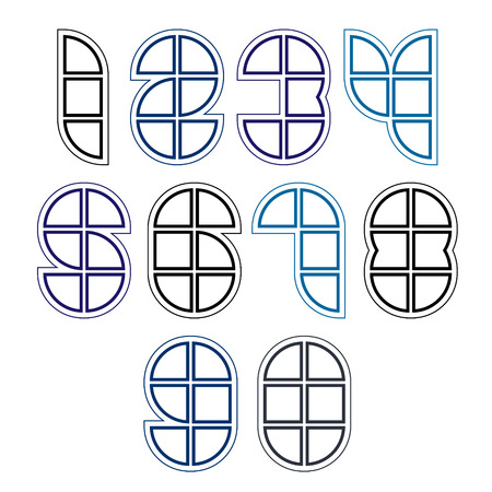 web 2 0: Rounded bright technical numbers created from sections and parts, clear vector industrial numeration with white outline. Illustration