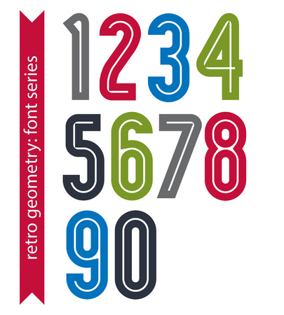 ordinary: Multicolored poster classic style rounded numbers. Ordinary vector numeration for advertising, graphic, print or web design.
