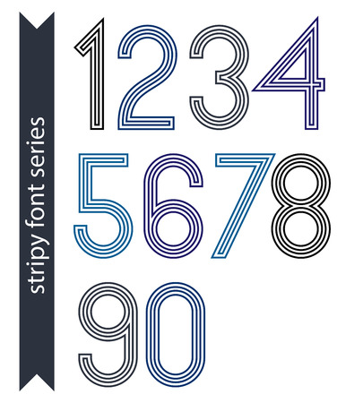 web 2 0: Blue slim numbers, single color delicate digits with triple lines isolated on white background. Standard stripy digits with rounded corners.