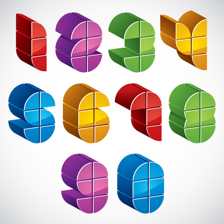 numerals: 3d futuristic numbers set, colorful glossy numerals for advertising and web design.
