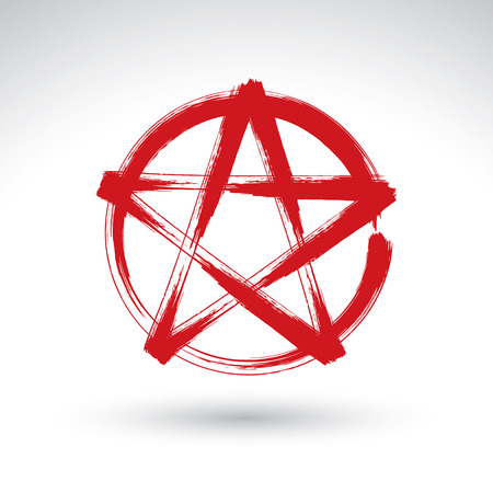 pentagram: Hand drawn pentagram icon scanned and vectorized, brush drawing red magic polygonal star, hand-painted pentagram symbol isolated on white background.