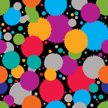imprecise: Colorful splattered web design repeat pattern, art ink circle blob, paintbrush drawing. Bright graffiti seamless background,